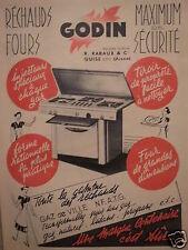 PUBLICITÉ 1953 GODIN RÉCHAUDS FOURS GAZ DE VILLE - R.RABAUX & Cie GUISE