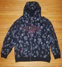 Top Heavy Hoodie Men's Black Skulls Full Zip Hoodie Size XL