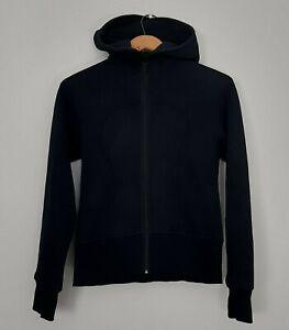 Lululemon Womens Size 4 Black Remix Cotton Scuba Hoodie Full Zip