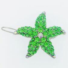 USA Hair Clip use Swarovski Crystal Hairpin Starfish Seastar Mermaid Green