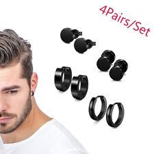 4 Pairs Men Women Stainless Steel Round Dumbbell Ear Stud Huggie Earrings Hippop