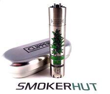 Metal Clipper Lighter - Rare 'Amnesia Haze' Amsterdam - Green Bud With Gift Tin