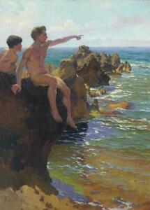 LMOP987 Two naked men on the beach hand painted oil painting on canvas wall art