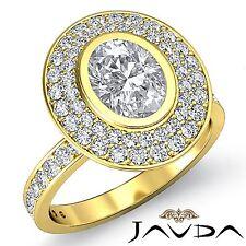 2 Row Halo Pre-Set Oval Diamond Engagement Ring GIA F VS2 18k Yellow Gold 2.25ct