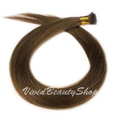 50 I Stick Tip Pre Bonded Straight Remy Human Hair Extensions Medium Brown #4