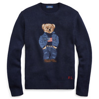 Polo Ralph Lauren Navy 50th Anniversary Denim Flag Bear USA Wool Knit Sweater