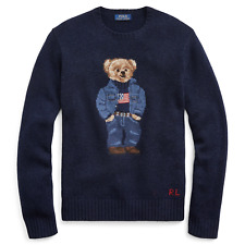Polo Ralph Lauren Navy 50th Anniversary Denim Flag Bear USA Wool Knit Sweater