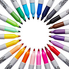 24 Sharpie Coloured Waterproof Permanent Marker Pens Permenent Glam 80's