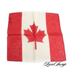NWT Gladson Made in Italy Red Ecru Gauze 100% Linen Canadian Flag Pocket Square