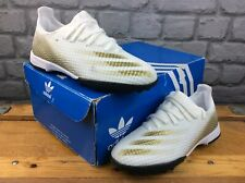 ADIDAS X GHOSTED.3 UK 2 EU 34 FOOTBALL TURF SHOES WHITE GOLD CHILDRENS BOYS M