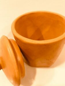 4 set Clay Spice Jar Canister Hand Made storage boxes Terracotta Gift