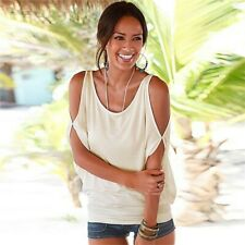 UK Women Strapless T shirt Baggy Oversized Loose Fit Short Sleeves Ladies Top