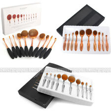 10pcs Oval Makeup Brushes Set Cream Puff Brush Blush Foundation Powder Cosmetics