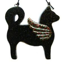 ANGEL CAT ~BLACK w/MULTI-COLOR WINGS Christmas Ornament ~Brand new!