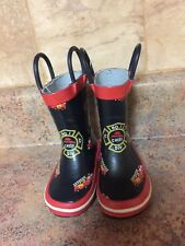 TODDLER BOY'S FIRE CHIEF EMERGENCY RUBBER RAIN BOOTS-SIZE: 2