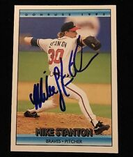 MIKE STANTON 1992 LEAF PINNACLE Autograph Signed AUTO Baseball Card 780 BRAVES