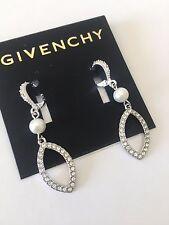 Givenchy Silver Tone Clear Swarovski Crystal Pearl Dangle Drop Earrings NWT