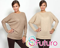 Stylish Batwing Women's Jumper Gold Thread Cardigan Crew Neck Size 8-12 8082