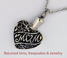 "Black & Silver Mom Heart Cremation Jewelry Keepsake Memorial Urn w/ 20"" Necklace"