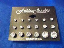 new WHOLESALE LOT 9 PAIRS rhinestone STUD earrings GIRLS faux BRIGHT pretty SALE
