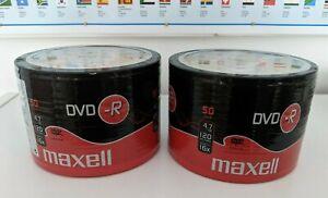 100 (2 x 50) Maxell DVD-R 4.7GB 120mins video 16x blank recordable discs