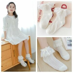 2 Pairs Girls Kids Lovely Lace Ankle Christening Wedding School Socks 3-8 Years