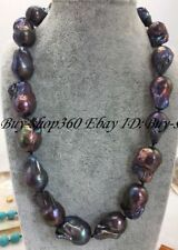 """Natural Huge 15-20mm Black South Sea Baroque Pearl Necklace 18"""" AA"""