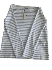 New Pieces Bretton Stripe Womens Top Light Blue And White Size M Rrp £18