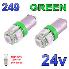 2 x Green 24v LED Side Light 249 BA9s T4W 5 SMD Bayonet Bright Bulbs HGV Truck