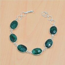 FREE SHIP 925 STERLING SILVER OVERLAY FACETED GREEN EMERALD BRACELET JEWELERY-2