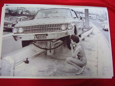1961 FORD GALAXIE ON GUARD RAIL WOMEN DRIVER?   BIG  11 X 17   PHOTO   PICTURE