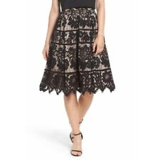 NEW Eliza J Pleated Lace Skirt Size 10 Black Women's A-Line $168 NWT