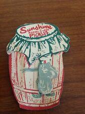 Salesman BZ card in shape of a pickle barrel –sunshine pickles HACKENSACK NJ
