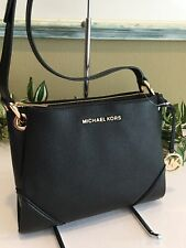 Michael Kors Nicole Triple Compartment Leather Crossbody Bag Black