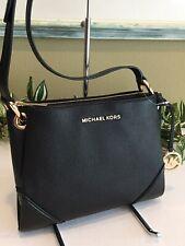 MICHAEL KORS NICOLE LARGE TRIPLE COMPARTMENT CROSSBODY BAG BLACK LEATHER $328
