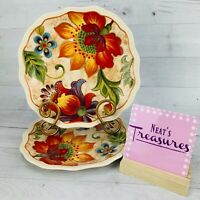 Noble Excellence MAJECTIC FLORAL Ironstone  Scallop Salad Luncheon Plates Set 2