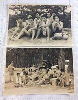 2 Vintage Japanese Photos Youth @ Beach Men Women Smoking/ San Miguel Beer /Cars