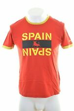 LOTTO Mens Spain Graphic T-Shirt Top Medium Red Vintage KV06