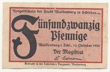Notgeldschein 25 Pfennig Waldenburg Schlesien Wałbrzych polska 1920 !