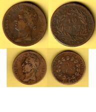 COLONIES FRANÇAISES GENERALES - CHARLES X 5 et 10 Ctes bronze 1828 A