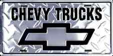 CHEVY TRUCKS CAR TRUCK TAG LICENSE PLATE METAL DIAMOND CHEVY LOGO SILVERADO SIGN