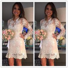 Short Mini Lace Wedding Dress Sexy Long Sleeves Beach Bridal Gown 2 4 6 8 10 12+