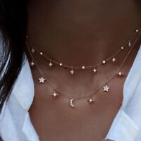 Fashion Multilayer Necklace Choker Star Moon Chain Gold Pendant Women Jewelry