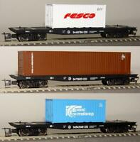 PERESVET 3801 - 3 Flat Cars w/Containers / 3 Flachwagen Containern RZD V TT :120