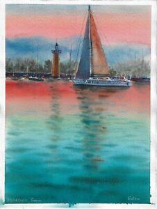 original painting 28 x 38 cm 131PO art watercolor seascape sailboat lighthouse