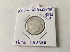 France - 1F en argent Napoléon III 1866 A Tête Laurée TTB
