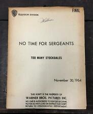 No Time For Sergeants: Too Many Stockdales ORIGINAL SCRIPT Warner Brothers, 1964