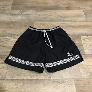 Vtg Umbro Men's Size Medium Soccer Shorts USA Made Nylon Black Tribal Diamond