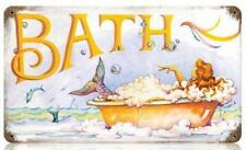Vintage Retro Dolphins Mermaid Bubble Bath Metal Sign Girls Bathroom Wall Decor