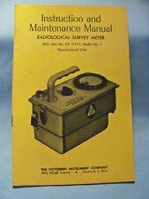 CD V-717 Model Number 1 Radiological Survey Meter Manual 1964 (NEW OLD STOCK)